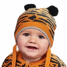 Orange Tiger Tattoo Knitted Boys Girls Soft Cap Autumn Cotton Bonnet Style Kid Crochet Caps Hats Winter Warm Newborn Accessories(China)