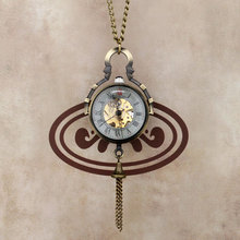 HOT Small Cute Special Bell Design Mechanical Wind Up Pocket Watch with Chain Necklace Hot Selling Women Casual Fashion Jewelry