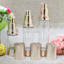 20ml 30ml 40ml Gold Airless Bottle Vacuum Pump Lotion Cosmetic Container Used For Travel Refillable Bottles 10pcs/lot(China)
