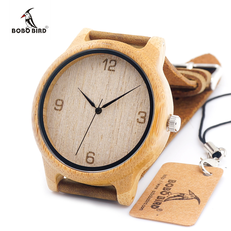 2017 BOBO BIRD Brand Handmade Mens Watches With Brown Genuine Cowhide Leather Strap Wood Watch for Men and Women as Gifts <br><br>Aliexpress