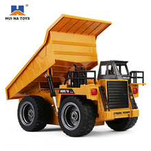 HuiNa 1540 RC Truck Toys Six Channel 6CH 1/12 40HMZ Metal Dump Trucks Remote Control Toys RTR With Charging Battery Alloy Truck(China)