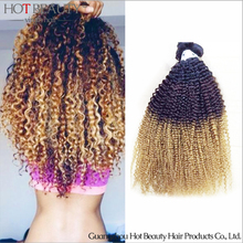 Ombre Mongolian Hair Extensions Mongolian Kinky Curly Hot Beauty Hair 3PcsLot Ombre Colorful Hair Weave