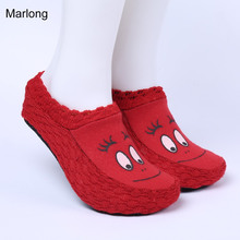 2016 Woman Winter Floor Shoes women indoor slippers Girls home shoes smile eyes slipper home socks pantoufles femmes