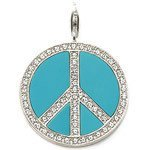 Charms Jewelry --- Blue Peace Sign Pendant Charms Fit Bracelet TS-CH0964(China)