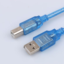 Wholesale USB 2.0 Extension Print Cable OHFC Copper Transparent Blue Extended USB Printer Cable for Printer HDD