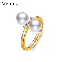 VEAMOR Unique Design Double Pearl Ring Real Natural Pearl Jewelry Gold Color Women's Jewelry for Party Wholesale(China)