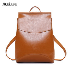 ACELURE Brand 2017 Women Oil Leather Backpacks Students School Shoulder Bag for Teenage Girls Backpack Ladies Travel Daypack(China)