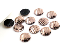 New Fashion 40pcs 12mm Rose Gold Plated Colors Fish Scale Style Flat back Resin Cabochon For Bracelet Earrings accessories H6-57(China)