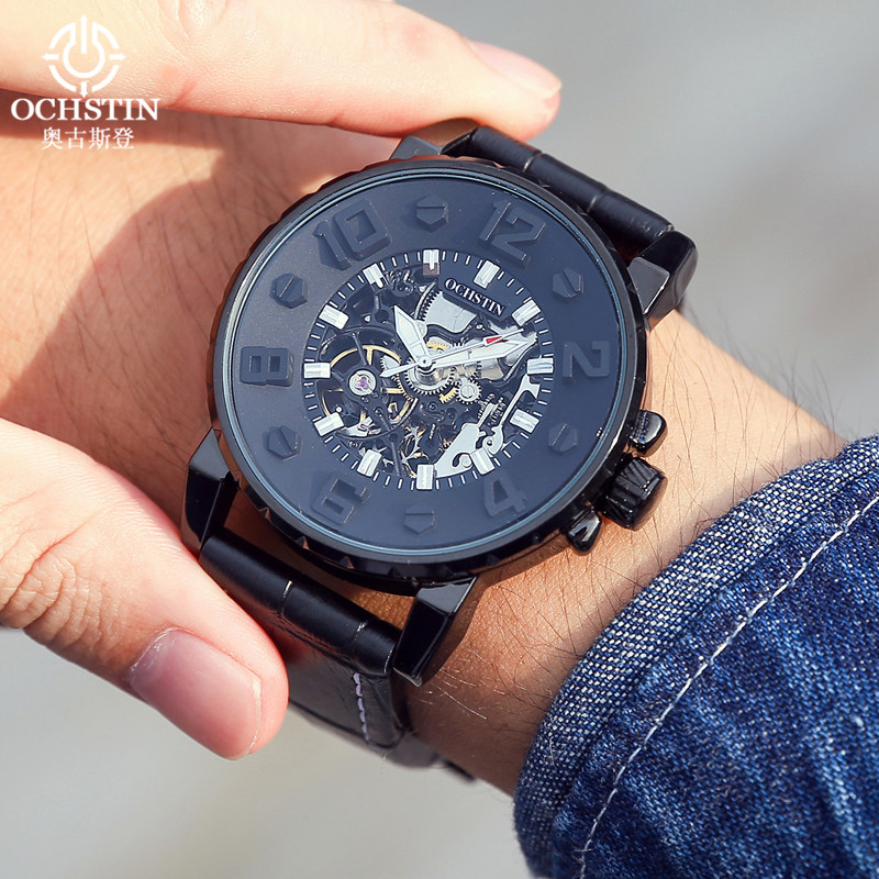top brand ochstin mechanical watches erkek kol saati black leather strap automatic watch self-wind steel skeleton sport watches<br>