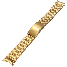 Hot 20mm Solid Stainless Steel Watch Bands Curved End Watches Strap Gold Watchband Bracelet Belt For Man Woman Wristband(China)