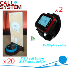 Cheap Wireless Table Buzzer Call System for Restaurant with 2 watch receiver 20 transmitters and menu holder(China)