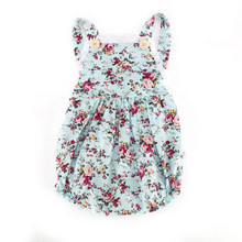 Summer Style Baby Girl Romper Floral Printing Spaghetti Strap Jumpsuit Infantil Baby Girl Clothes Beach Rompers(China)