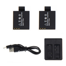 2pcs 3.7V 900mAh SJ4000 SJ5000 SJ6000 Battery + Dual Battery Charger for SJCAM SJ 4000 5000 Camera Accessories