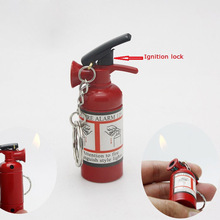 1pc Mini Extinguisher-Type Fire Refillable Cigarette Lighter Butane Gas Lighter With Key Chains Good For Gift Collection(China)
