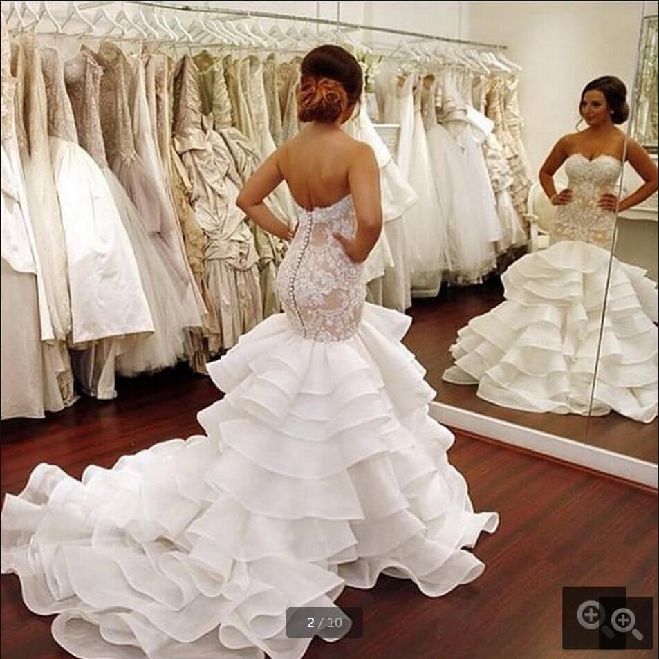 new designer 2016 organza mermaid lace appliques wedding dress sweetheart off shoulder ruffles long curvy shape wedding dresses