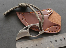 Mini MC Pocket Karambit with leather sheath cutter portable claw knife tool Outdoor camp gadget Survive box package opener open