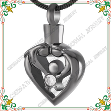 CMJ9211 Mother Father And Child Heart hollow pendant love you forever shiny black cremation urn jewelry pendant necklace