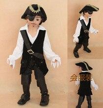 Детские классические костюмы на Хэллоуин мальчиков пиратский костюм дети косплей костюм пирата Джека Воробья Карнавальный костюм для дете...(China)