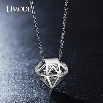 Umode lindo hollow corte redondo claro zirconia collar de joyas de oro blanco plateó los collares para las mujeres collier femme gros un0115b