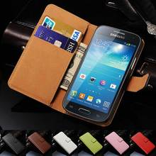 Genuine Leather Case For Samsung Galaxy S4 Mini i9190 Phone Bag Case Card Holder Flip Cover For Samsung Galaxy S4 Mini Cases