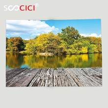 Custom Soft Fleece Throw Blanket Landscape New York City Central Park in a Autumn Day Near a Bay with River Sky Blue Green(China)