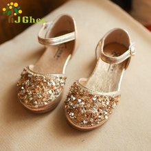 J Ghee 2017 Princess Girls Summer Shoes Kids Sandals With Shiny Bright Rhinestone Children's Shoes Toe-cap Crystal Girls Sandals