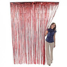 3 ft. x 8 ft Metallic Red Foil Fringe Curtain Shimmer Curtain Birthday Decor New Christmas New Year Decorations