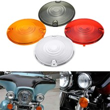 1 Pair Pancake Turn Signal Indicator Light Lens For Harley /Davidson /Road /King /Glide Red Smoke Clear Yellow(China)