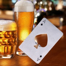 Stainless Steel Beer Opener Bottle Openers Poker Playing Card Ace of Spades Bar Tool Soda Beer Bottle Cap Opener Gift(China)