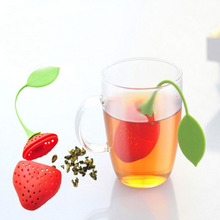3Pcs/lot Silica Gel Strawberry IlterTea Strainer Bag Tea Strainer Bag Ball Sticks Loose Herbal Spice Infuser Filter tools(China)