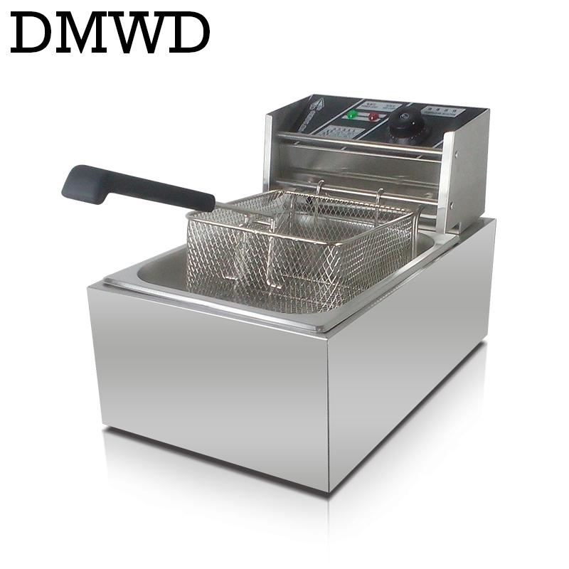 Electric deep fryer Multifunctional Household Commercial Stainless steel Grill Frying pan French fries machine hot pot 6L 2.5kw<br>