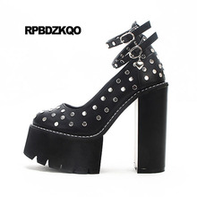 Buy Shoes Gothic Round Toe Fetish Rivet 14cm 15cm Ultra High Heels Platform Metal Punk Pumps Black Stud Ankle Strap Ladies Chunky