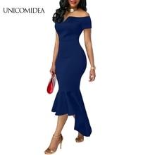 Off Shoulder Dress Women Sexy Slit Fishtail Mermaid Bodycon Casual Dress  Jersey Elegant Empire Club Formal 60de6f5f4a38