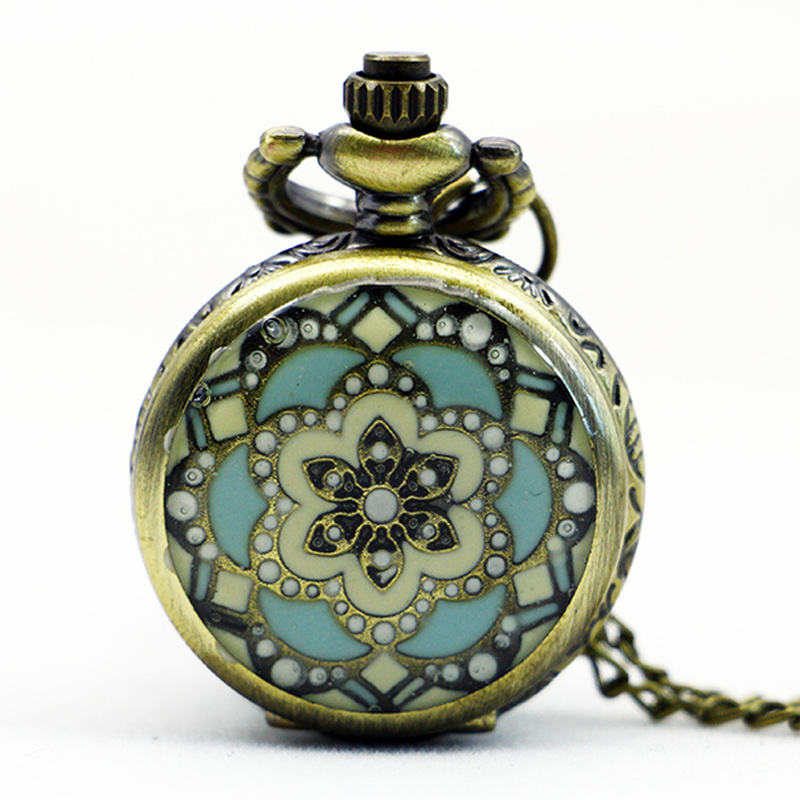 PS567-Vintage-Jewelry-New-Colorful-Enamel-Rhinestone-Movt-Flower-Pattern-Pocket-Watch-Small-Size