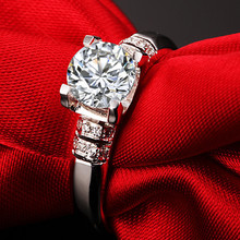 Lovely Design Test Real 1C 6.5mm Moissanite Solid 18K White Gold Women Wedding Ring Great Quality Last Forever Fine Jewelry(China)