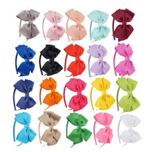 4.5 Inch Girls Solid Hairband Children's Candy Colors Covered Headband with Grosgrain Ribbon Bow Handmade Hairbands Headdress(China)