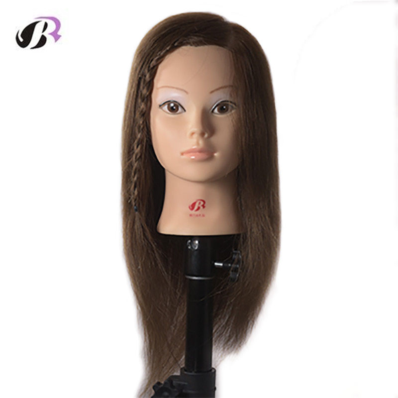 Natural Black High Quality 100% Human Remy Hair Practice Head Mannequin Head Training Manikin Head Hair Styling for Hairdresser