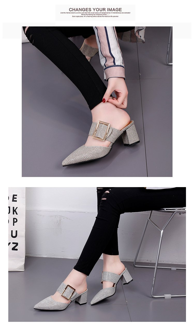 2019spring New Thick with Muller Shoes Women's High Heels Pointed Belt Buckle Back Air Slippers Elegant Temperament Baotou 4 Online shopping Bangladesh