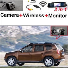 For Dacia Duster 3 in1 Special Rear View Camera + Wireless Receiver + Mirror Monitor Easy DIY Back Up Parking System