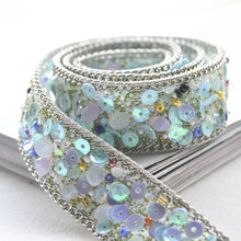 2017 NEW Fashion high-grade Rhinestones Lace Ribbon Handmade DIY Accessories For Cloth Woman bag shoes Chain with diamond Sequin