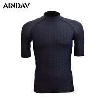 Men's Sharkskin Short Sleeve Swimwear Shirt Sun Protection Clothing Women Diving Suits Snorkeling Surfing Board Wetsuit Swimsuit
