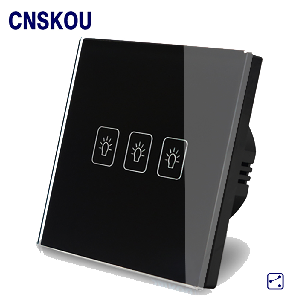 Cnskou  EU Standard 3Gang 2Way 110V-250V Touch Switch LED Screen Wall Light Switch Black Crystal Glass Panel Smart Home <br>