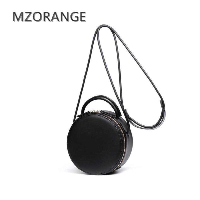 MZORANG 2018 Retro Genuine Leather Women Handbag Small Round bag Fashion lady Simple Shoulder Bag Cowhide messenger bag mini Bag<br>