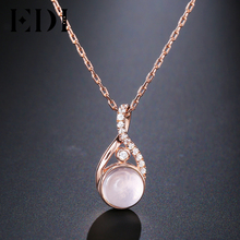 EDI 100% Natural Round Pink Rose Quartz Necklace Pendants for Women Classic Design Gemstone 925 Sterling Silver Fine Jewelry(China)