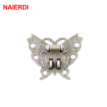 5PCS NAIERDI Butterfly Design Antique Bronze Hasp Latch Jewelry Wooden Box Lock Cabinet Buckle Case Locks Handle Hardware(China)