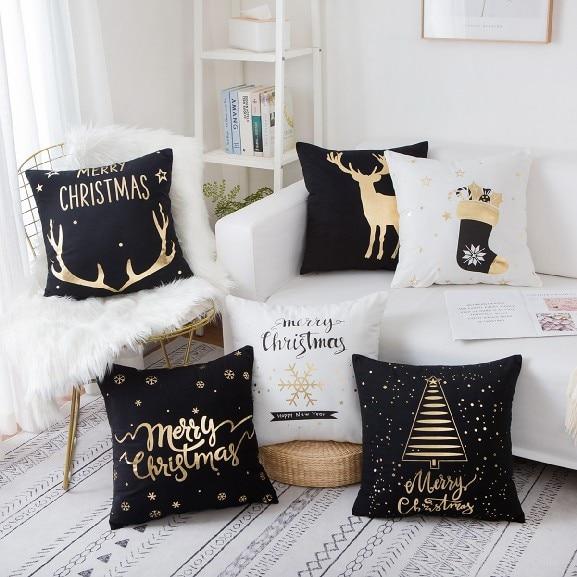Gold Foil Printing Decorative Pillow Case Waist Throw Cushion Cover Home Decor 9