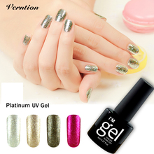 Shining Glitter Platinum need UV LED lamp lucky Gel Lacquer 3D Paint Fingernails Gel Nail Polish Primer Manicure Nail Foil glue(China)