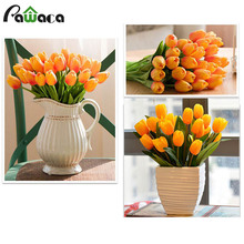 10Pcs Tulip Artifical Flower Real Touch Wedding Flower Bouquet PU Stunning Fake Tulip Wedding Party Office Room Home Decoration(China)
