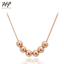 Top Quality N267 Transport Bead Rose Gold Color Pendant Necklace Jewelry Austrian Crystal Wholesale(China)