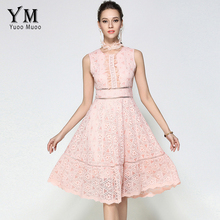 YuooMuoo Women Pink Lace Vintage Elegant Cute Dress Fashion Ladies Floral Summer Party Sexy Club Long Dresses